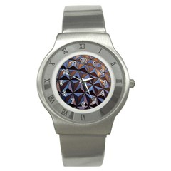 Background Geometric Shapes Stainless Steel Watch