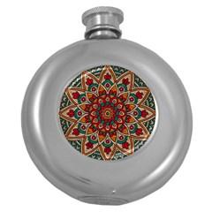 Background Metallizer Pattern Art Round Hip Flask (5 oz)