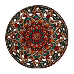 Background Metallizer Pattern Art Ornament (Round Filigree)
