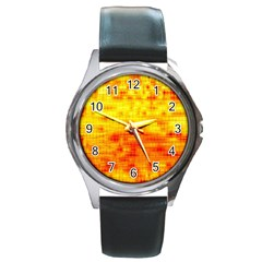Background Image Abstract Design Round Metal Watch