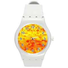 Background Image Abstract Design Round Plastic Sport Watch (M)