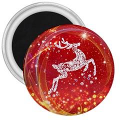 Background Reindeer Christmas 3  Magnets