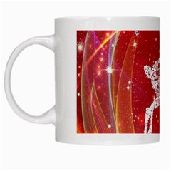 Background Reindeer Christmas White Mugs