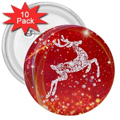 Background Reindeer Christmas 3  Buttons (10 pack)
