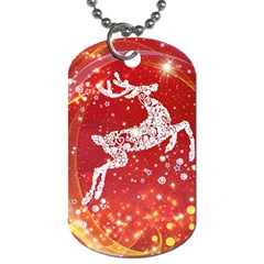 Background Reindeer Christmas Dog Tag (two Sides)