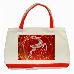 Background Reindeer Christmas Classic Tote Bag (red)