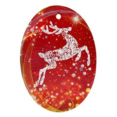 Background Reindeer Christmas Oval Ornament (two Sides)