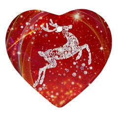 Background Reindeer Christmas Heart Ornament (two Sides)