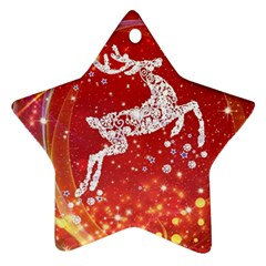Background Reindeer Christmas Star Ornament (Two Sides)