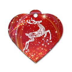 Background Reindeer Christmas Dog Tag Heart (One Side)