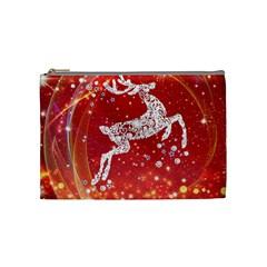 Background Reindeer Christmas Cosmetic Bag (Medium)