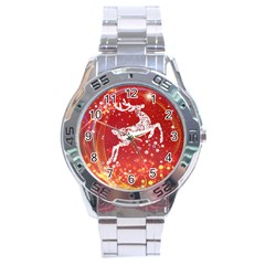 Background Reindeer Christmas Stainless Steel Analogue Watch