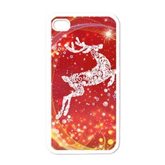 Background Reindeer Christmas Apple iPhone 4 Case (White)