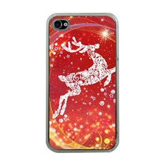 Background Reindeer Christmas Apple iPhone 4 Case (Clear)