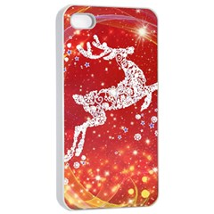 Background Reindeer Christmas Apple iPhone 4/4s Seamless Case (White)