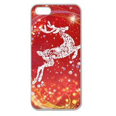 Background Reindeer Christmas Apple Seamless Iphone 5 Case (clear)