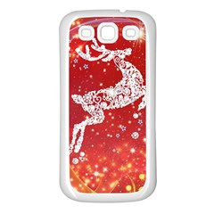 Background Reindeer Christmas Samsung Galaxy S3 Back Case (White)
