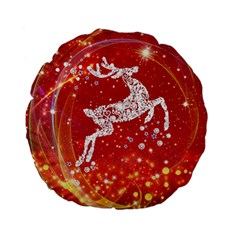 Background Reindeer Christmas Standard 15  Premium Flano Round Cushions