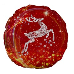 Background Reindeer Christmas Large 18  Premium Flano Round Cushions