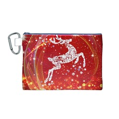 Background Reindeer Christmas Canvas Cosmetic Bag (m)