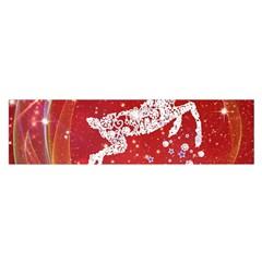 Background Reindeer Christmas Satin Scarf (Oblong)