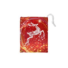 Background Reindeer Christmas Drawstring Pouches (xs)