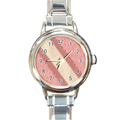 Background Pink Great Floral Design Round Italian Charm Watch