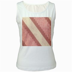 Background Pink Great Floral Design Women s White Tank Top