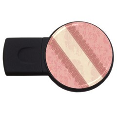 Background Pink Great Floral Design Usb Flash Drive Round (2 Gb)