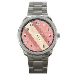 Background Pink Great Floral Design Sport Metal Watch
