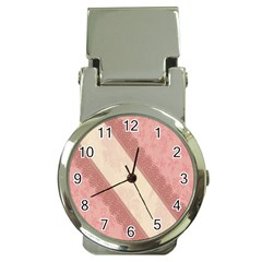 Background Pink Great Floral Design Money Clip Watches