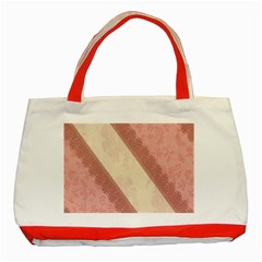 Background Pink Great Floral Design Classic Tote Bag (Red)