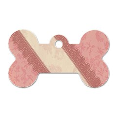 Background Pink Great Floral Design Dog Tag Bone (Two Sides)