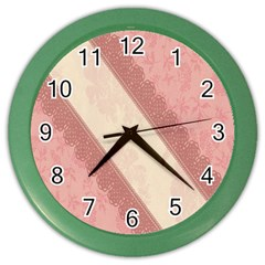 Background Pink Great Floral Design Color Wall Clocks