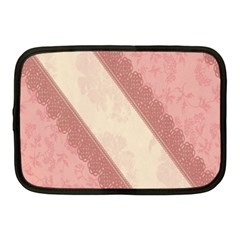 Background Pink Great Floral Design Netbook Case (Medium)