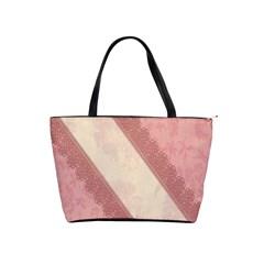 Background Pink Great Floral Design Shoulder Handbags