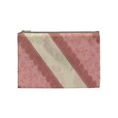 Background Pink Great Floral Design Cosmetic Bag (Medium)