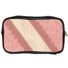 Background Pink Great Floral Design Toiletries Bags 2-Side