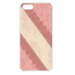 Background Pink Great Floral Design Apple Iphone 5 Seamless Case (white)