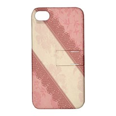Background Pink Great Floral Design Apple Iphone 4/4s Hardshell Case With Stand