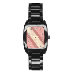 Background Pink Great Floral Design Stainless Steel Barrel Watch
