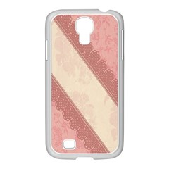 Background Pink Great Floral Design Samsung GALAXY S4 I9500/ I9505 Case (White)
