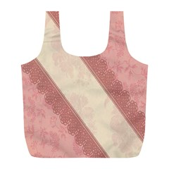 Background Pink Great Floral Design Full Print Recycle Bags (L)