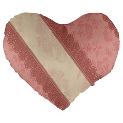 Background Pink Great Floral Design Large 19  Premium Flano Heart Shape Cushions