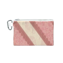 Background Pink Great Floral Design Canvas Cosmetic Bag (S)