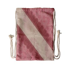 Background Pink Great Floral Design Drawstring Bag (Small)