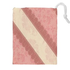 Background Pink Great Floral Design Drawstring Pouches (xxl)