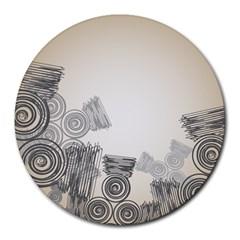 Background Retro Abstract Pattern Round Mousepads