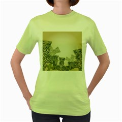 Background Retro Abstract Pattern Women s Green T-Shirt