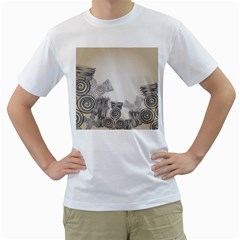 Background Retro Abstract Pattern Men s T-Shirt (White) (Two Sided)